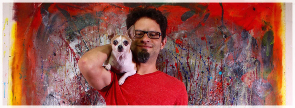 Los Angeles Fine Art Abstract Artist - Nestor Toro with his chihuahua Iggy